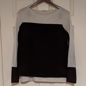 Zara Black and White Crepe 'Fooler' Top
